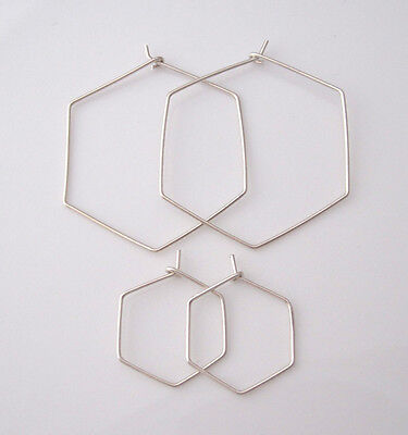925 Sterling Silver wire HEXAGON geometric hoops earrings - hand-crafted