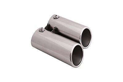 Stainless Steel Muffler Double Exhaust Tip Tail Extension Pipe for BMW E46 320i