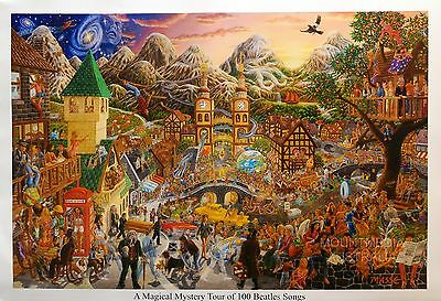 MAGICAL MYSTERY TOUR OF 100 BEATLES SONGS POSTER (57x75cm) TOM MASSE NEW