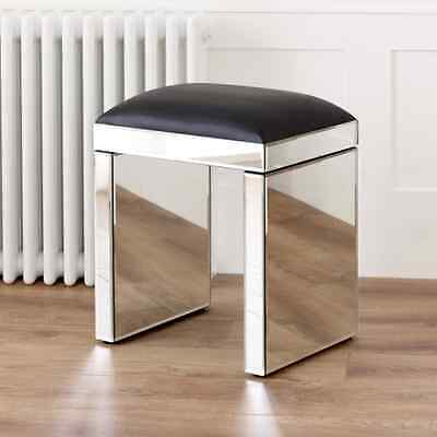 Venetian Mirrored Glass Dressing Table Stool - Black Faux Leather Seat VEN05B