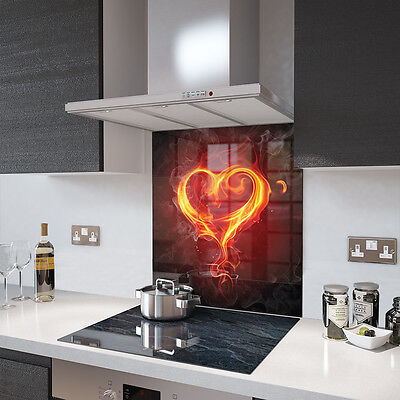 Digital Printed Toughened Glass Picture Splashback - Black with Flaming Heart