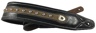 "Genuine Leather Soft Padded ""Tan Spine Bolted"" Supreme All Guitar Strap"