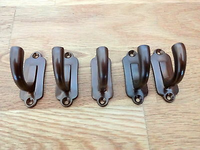 Set Of 5 Bronze Finish Victorian Style Coat Hooks