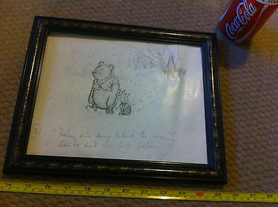Gorgeous Winnie the Pooh Piglet Printed PIcture in Frame Cute Pencil Drawing