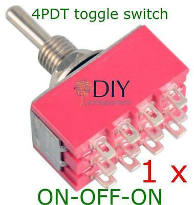 1 x 4PDT ON-OFF-ON toggle switch - switch a levetta pedal clone DIY