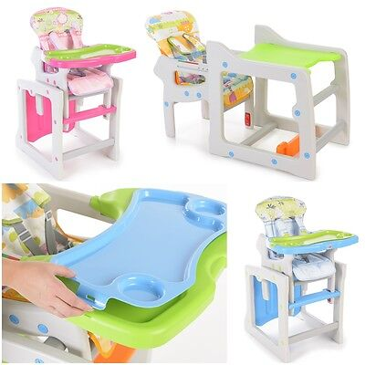 2 IN 1 BABY HIGHCHAIR HIGH CHAIR LUXURY FEEDING CHAIR + TABLE SET pink blue
