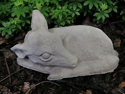 "Vintage Cement 9"" Long Sleeping Curled Deer Fawn Garden Art Statue Concrete"