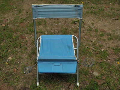 Vintage Aluminum and Blue Nylon Folding Camp Hunt Stool Chair w/Back Metal  F