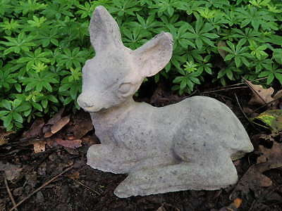 "Vintage Cement 9.5"" Long Baby Deer Fawn Garden Art Statue Weathered Concrete"