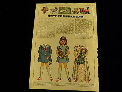 1976 Betsy McCall  Visits Grandma's House  UNCUT PAPER DOLL   A42D