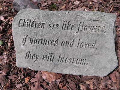 "11"" Wide Cement CHILDREN ARE LIKE FLOWERS Plaque Garden Art Green Concrete     A"