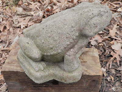 "Vintage Cement 6"" Tall  Frog Toad Garden Statue Weathered Concrete RuggedLooking"