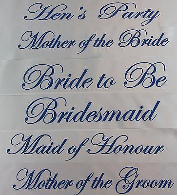 Hens Night Bridal Sash Sashes Bride Bridesmaid Maid Of Honour - White + Blue