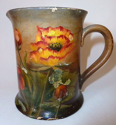 """1930s Remued PPP Blue Glaze Pottery Jug HandPainted """"Annie D Oliver"""""""
