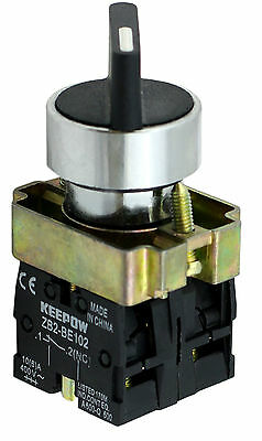22mm Panel Mount 2 Position ON/OFF Switch 10Amp 400V 1 x NO + 1 x NC (Box of 5)
