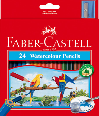 48 x Faber Castell Watercolour Pencils & Brush Art Colouring Coloured Pencils