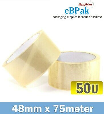108 Roll - 50 Micron Clear - Packing Packaging Sticky Tape 75 Meter x 48mm - 50U