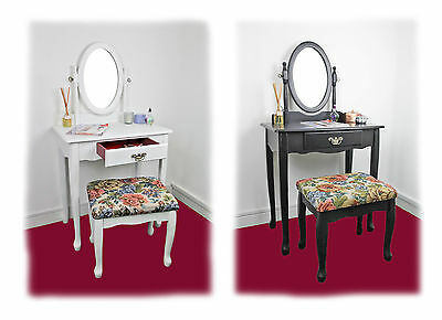 Vintage Style Dressing Bedroom Side Makeup Vanity Table With Mirror And Stool