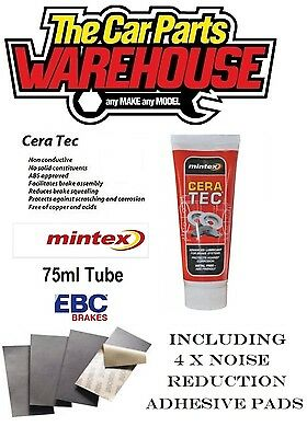 ANTI SQUEAL BRAKE PAD SHIMS NOISE REDUCTION 152mm x 51mm and CERATEC 75ml TUBE