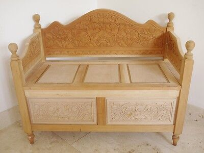 Trunk/chest ottoman seat shabby chic solid hand carved wood storage mahogany
