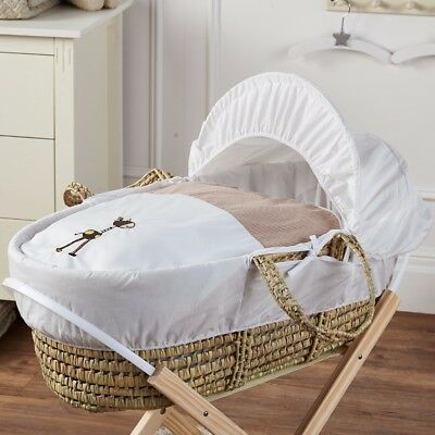 Baby Moses Basket And Natural Rocking Stand Giraffe Gingham Palm