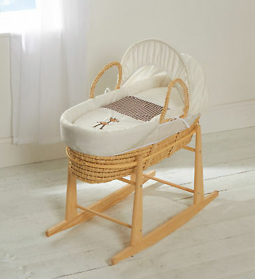 Moses Basket With Mattress Covers & Rocking Stand Giraffe Gingham Palm