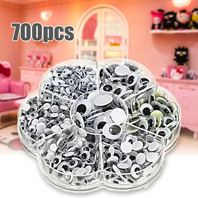 New 700Pcs/Box 7 Sizes DIY Round Self-adhesive Wiggly Googly Eyes For Doll Toy