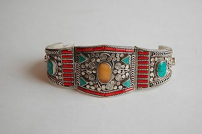 North African Berber silver cuff bracelet - vintage, Atlas mountains - 121 grams
