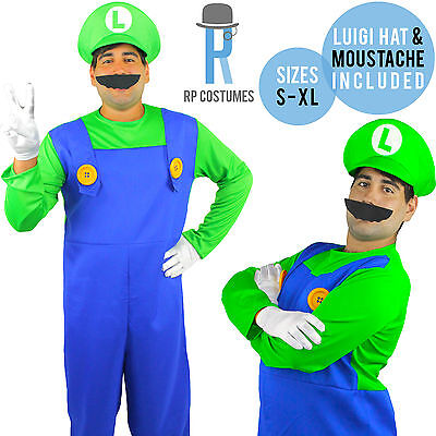 Adult/Mens Super Luigi Bros Brothers Fancy Dress Up Party Costume Hat/Moustache