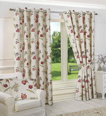 New Ring Top Fully Lined 100% Cotton Floral Ready Made Curtains