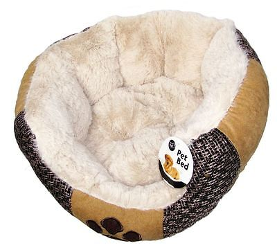 Small Size Round Pet Bed, Cream and light brown colour