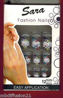 12 FAUX ONGLES - CAPSULE - FRENCH MANUCURE - SOIREE-FETE-MARIAGE - RéF.S5