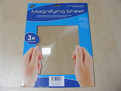 Large A4 Page Size Fresnel Lens Magnifying Sheet 3X Mag For Book Reading Glasses