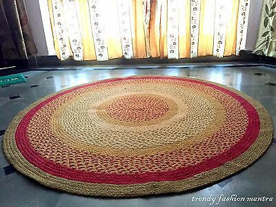 """Large Hand Crocheted lace Doily Area Rug 60"""" Jute Vintage Style Make To Order"""