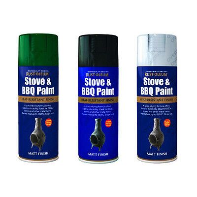 Rust-Oleum High Temperature Stove & BBQ Aerosol Spray Paint Black Green Silver