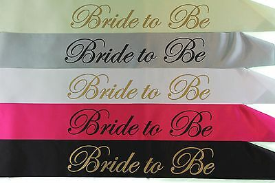 Bride To Be Hens Night Sash Hen's Party Bridal Sashes White Black Pink Gold