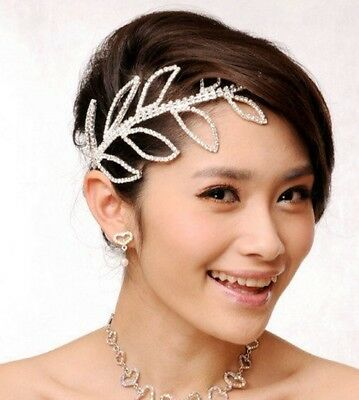 Bridal Bridesmaid Wedding Crystal LEAF Crown Headband Tiara Headpiece Charm