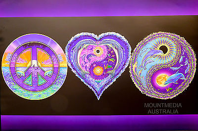 (Laminated) Peace Love & Happiness - Blacklight Poster (61X91Cm)  New Licensed A