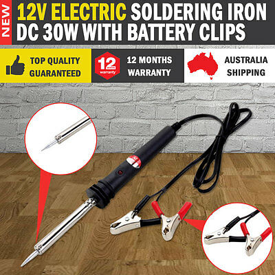 NEW Electric Soldering Iron 12V DC 30W with Battery Clips