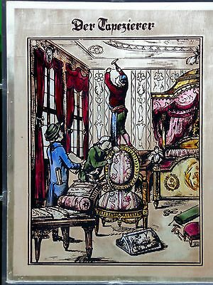 """LEADED GLASS WINDOW Image Old Bernhardt Stained Picture """" The Paperhanger """""""