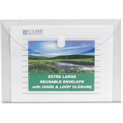 C-Line Products Biodegradable Reusable Poly Envelope, Side Load, Clear, 5/PK