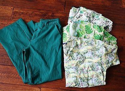 Women's scrubs lot mix forest green pants and 3 tops