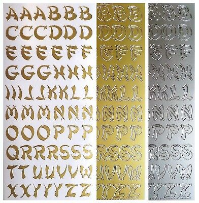 ORIENTAL LETTERS Peel Off Stickers Card Making Capital Alphabet Gold or Silver