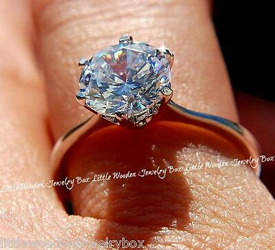 White Sapphire Diamond Cut Round Engagement Ring Sterling Silver 14k White Gold