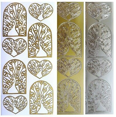 PEACOCK Peel Off Stickers Arches & Hearts Garden Bird Card Making Gold or Silver