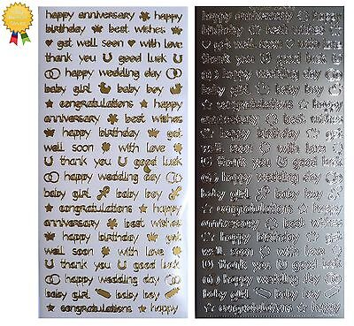 MINI SENTIMENTS Peel Off Stickers Congratulations Baby Birthday Gold or Silver