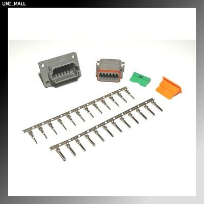 Deutsch DT 12-Pin Genuine Flange Connector Kit 14-16AWG Stamp Contacts