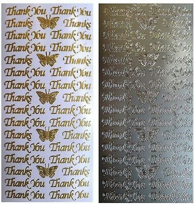 THANK YOU Peel Off Stickers Butterfly Thanks Card Making Sentiments Gold Silver
