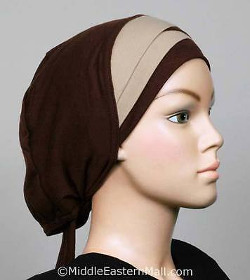 Muslim covering hijab cotton cap Pleat Bonnet #11 Brown & Tan Ships from USA