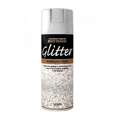 x3 Rust-Oleum Sparkling Silver Glitter Aerosol Spray Paint Clear Sealant Coat
